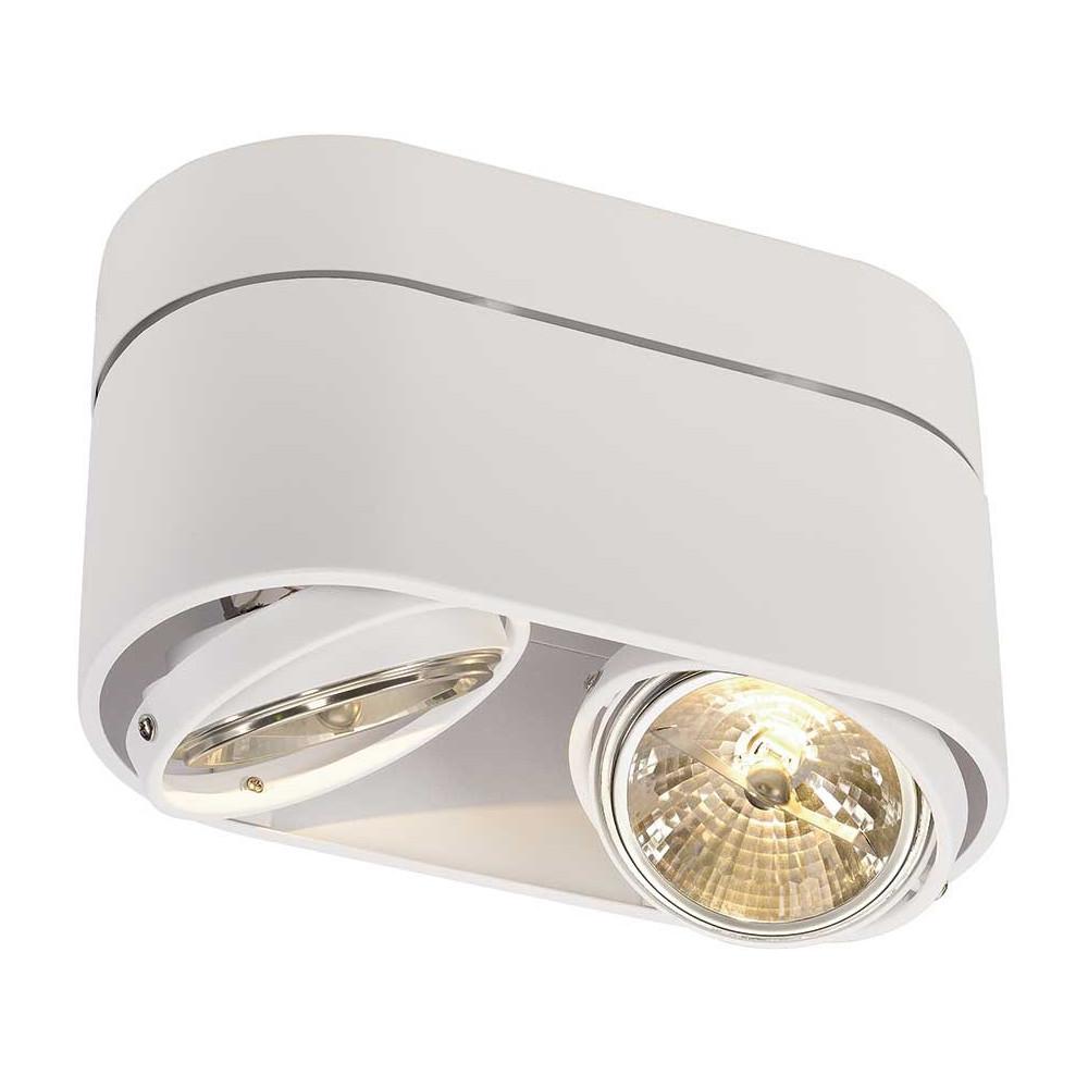 Double plafonnier design blanc aux formes arrondies for Luminaire exterieur double