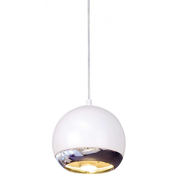 Suspension boule blanche et chrom e pour l 39 clairage d 39 un bar for Suspension cuisine blanche