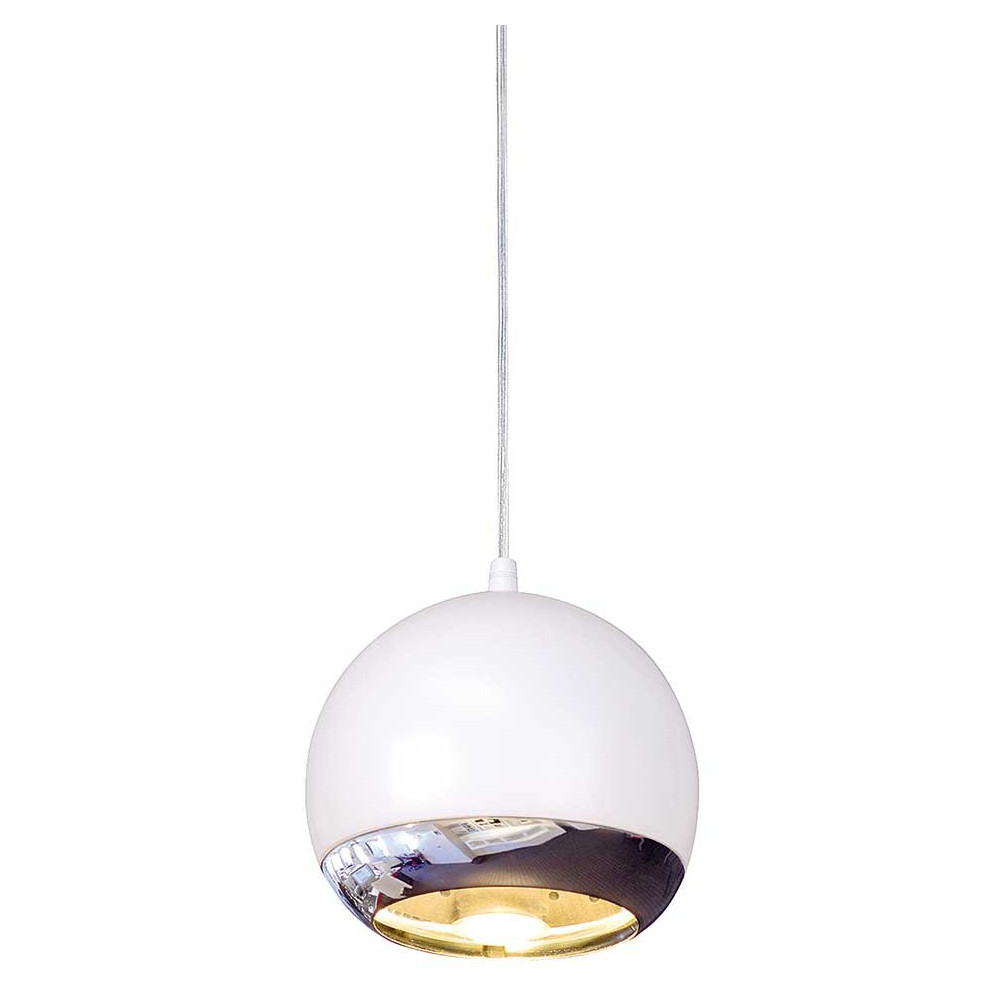 Suspension boule blanche et chrom e pour l 39 clairage d 39 un bar for Suspension electrique cuisine