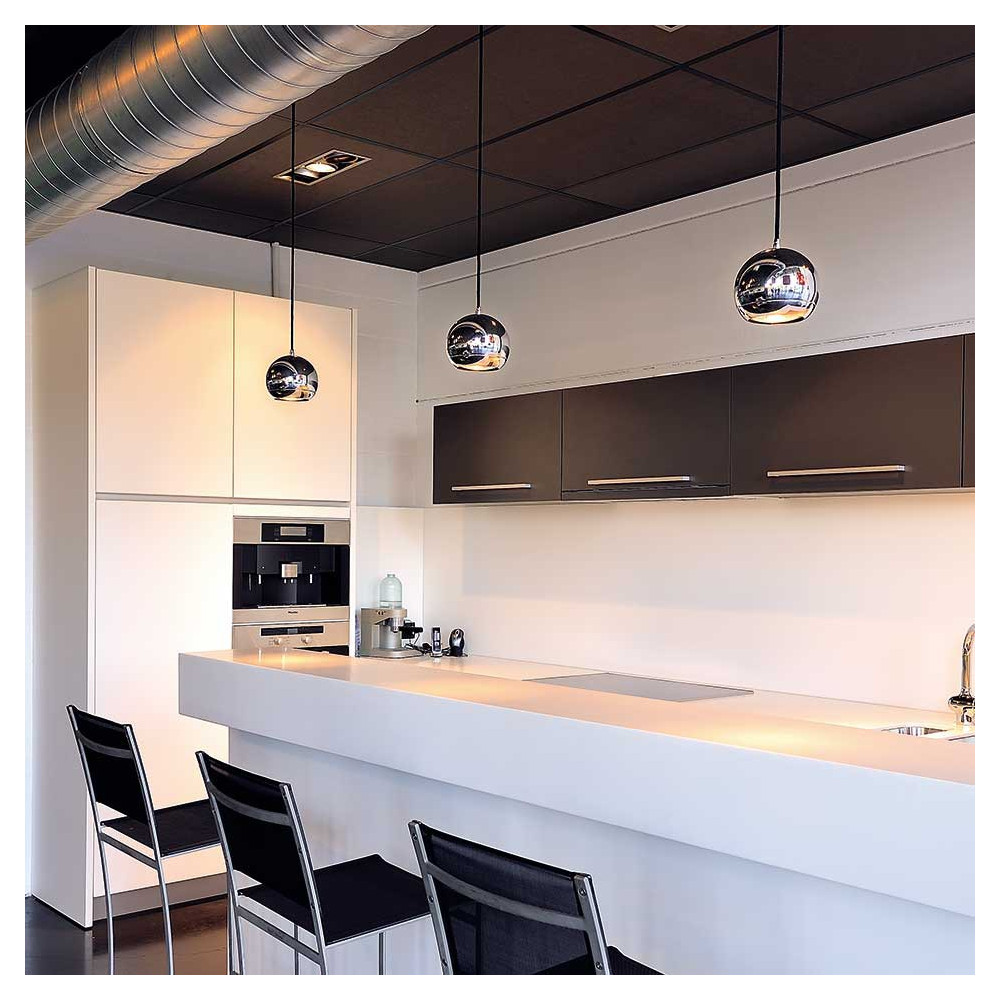 Suspension boule chrom e luminaire de bar for Eclairage suspension design