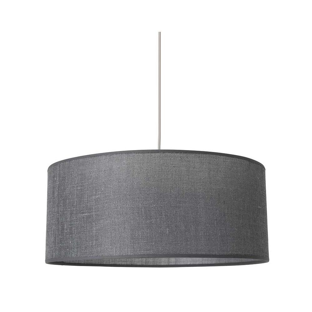 Suspension abat jour gris ardoise contrecoll lin sur for Suspension luminaire gris