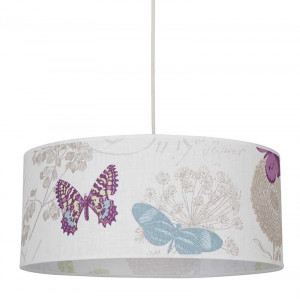 Suspension lin blanche papillons