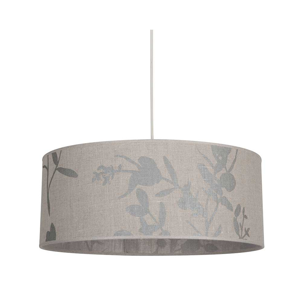 suspension lin cylindrique avec imprim feuillage taupe lampe avenue. Black Bedroom Furniture Sets. Home Design Ideas