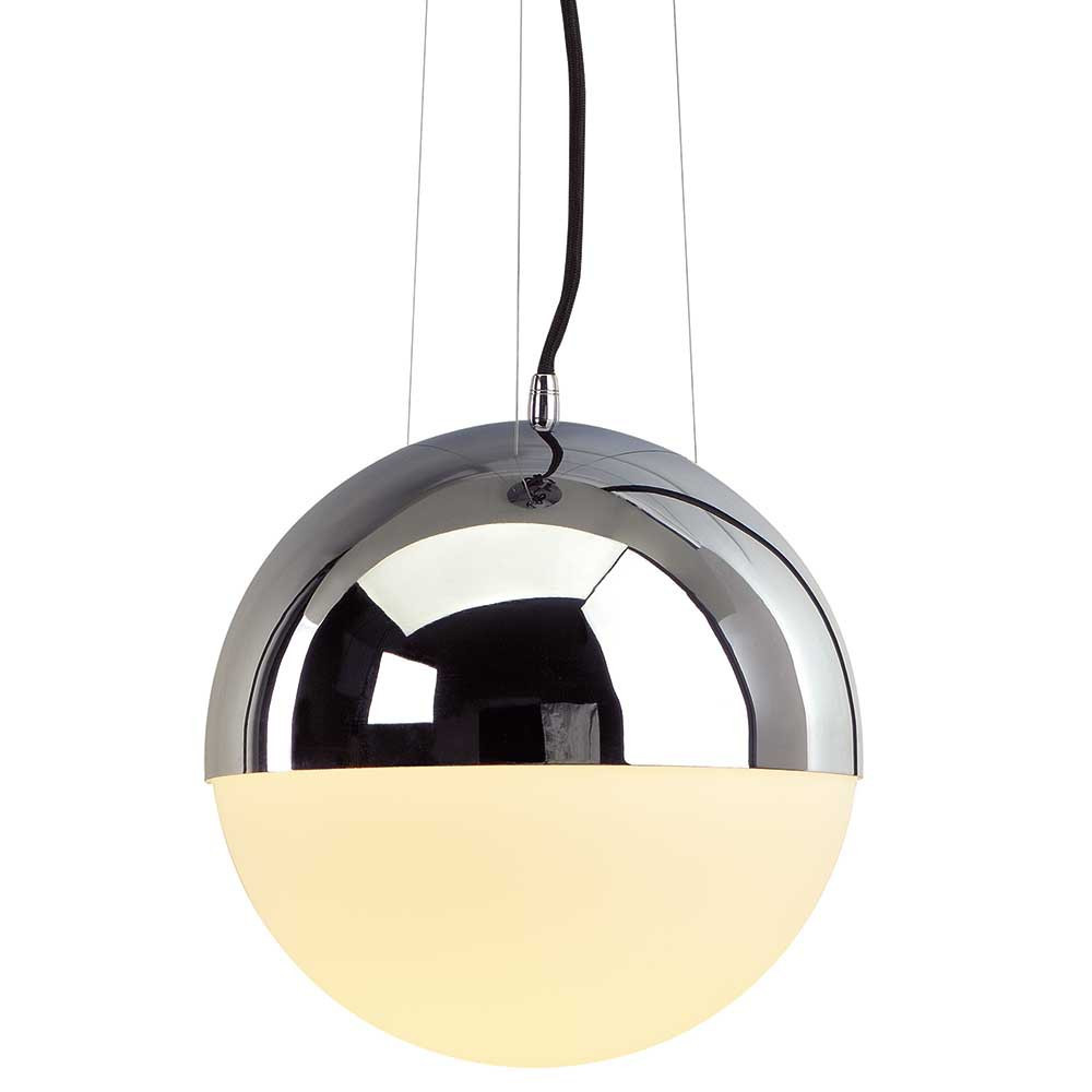 Suspension boule en verre et m tal chrom lampe avenue - Suspension pour salon ...