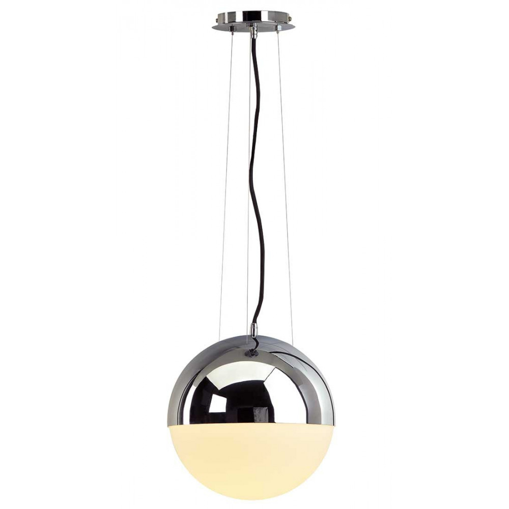 suspension boule en verre et m tal chrom lampe avenue. Black Bedroom Furniture Sets. Home Design Ideas