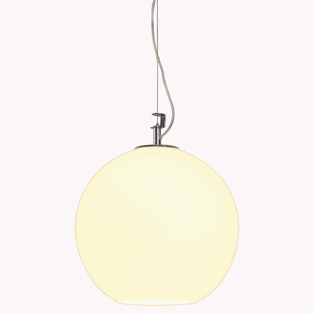 Suspension boule en verre blanc un luminaire design pop art for Lampe boule suspension