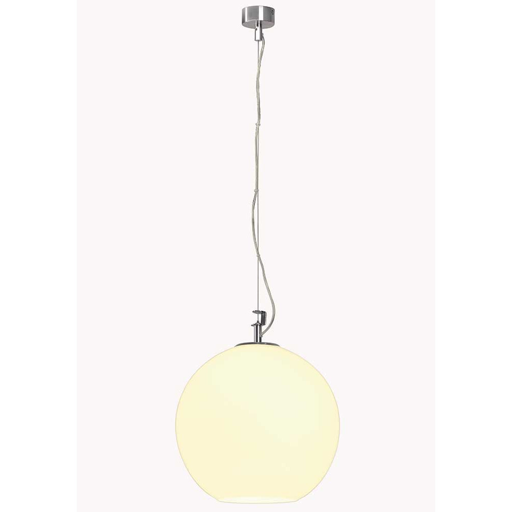 Suspension boule en verre blanc un luminaire design pop art for Boule en verre pour lampe