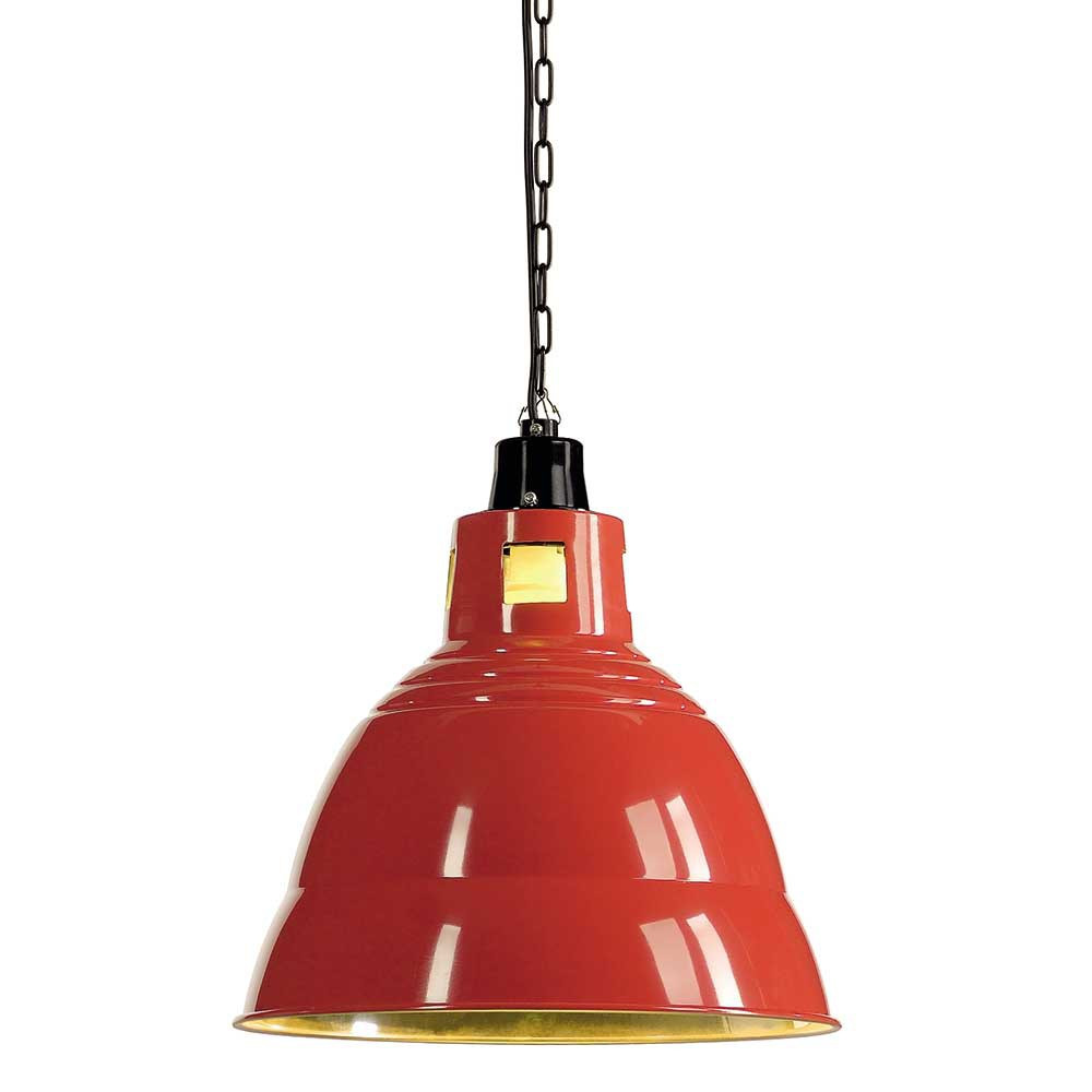 Suspension industrielle rouge en alu lampe avenue for Luminaire suspension rouge