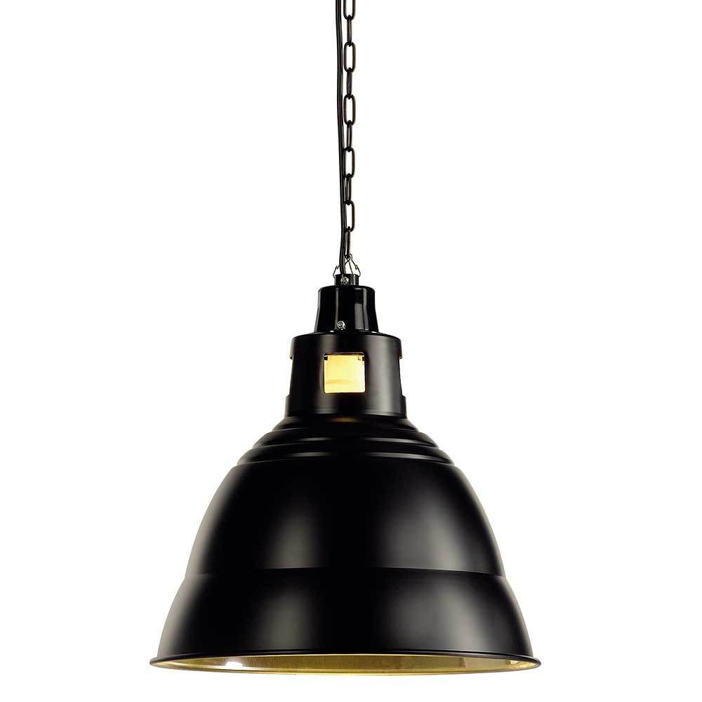 Suspension industrielle noire en m tal lampe avenue - Lampe suspension industrielle ...