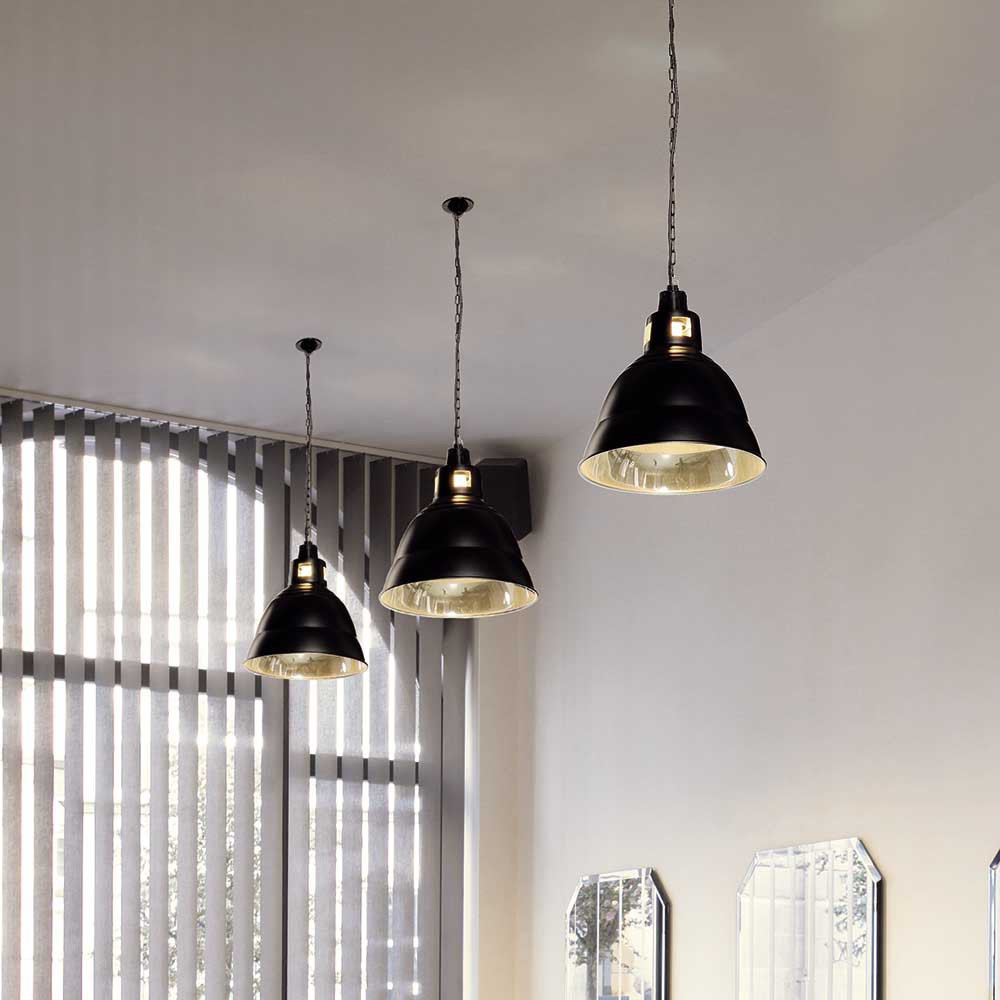Suspension Industrielle Noire En M Tal Lampe Avenue