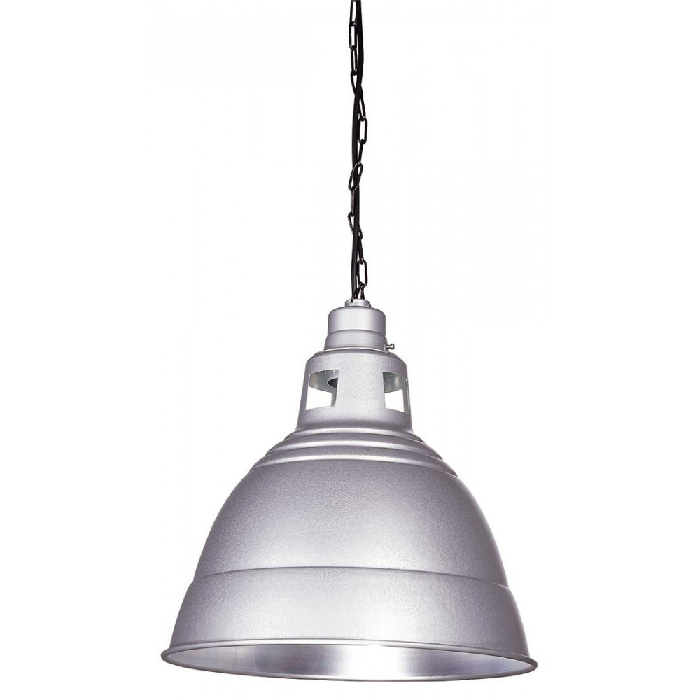 Suspension industrielle grise luminaire m tal sur lampe for Suspension luminaire exterieur