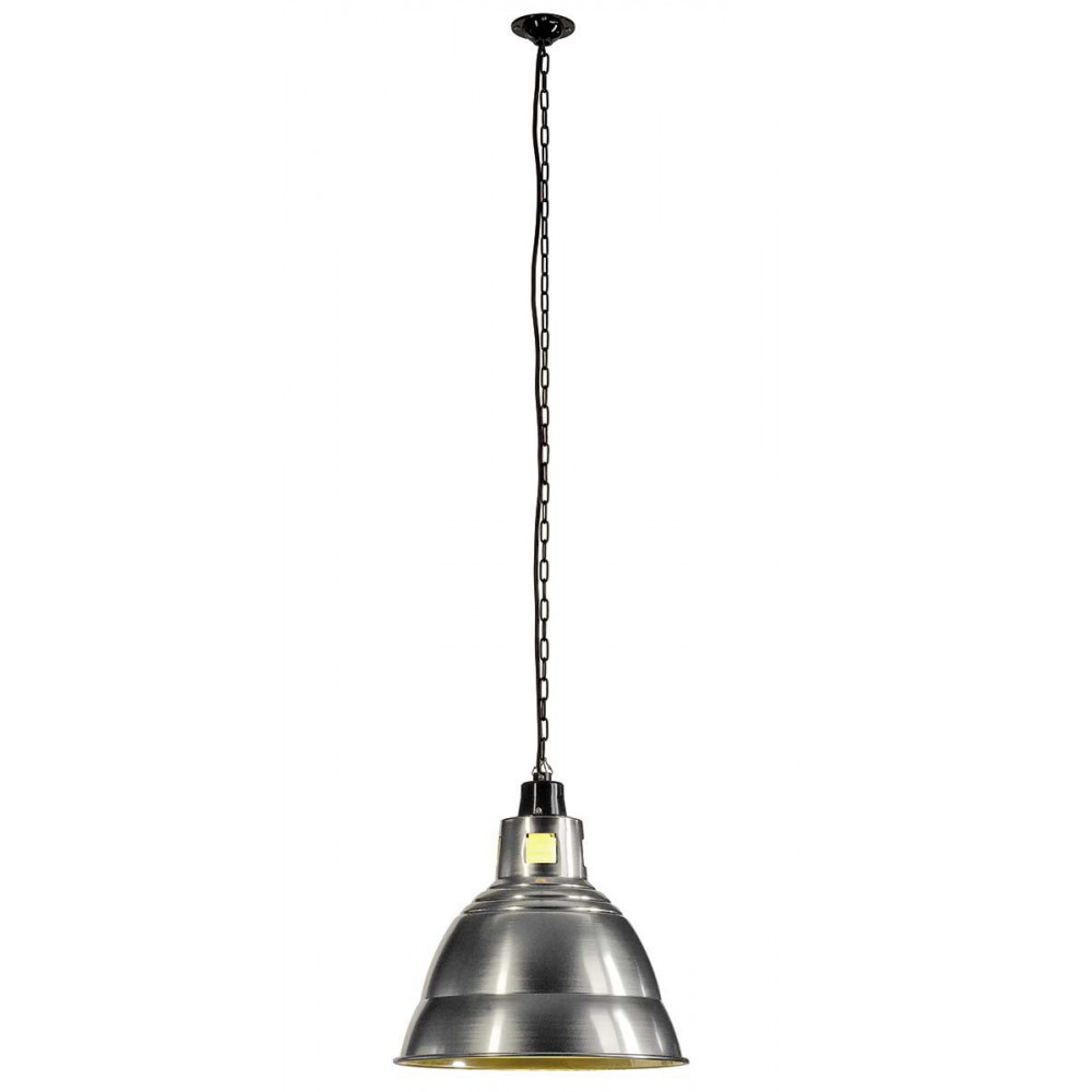 Suspension industrielle grise luminaire m tal sur lampe for Luminaire metal