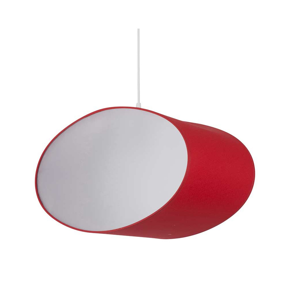 Suspension coton rouge ovale avec c t s transparents for Suspension rouge