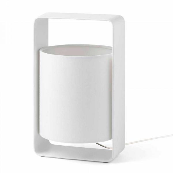 Lampe d co blanche moderne en m tal avec un abat jour for Lampe exterieur blanche