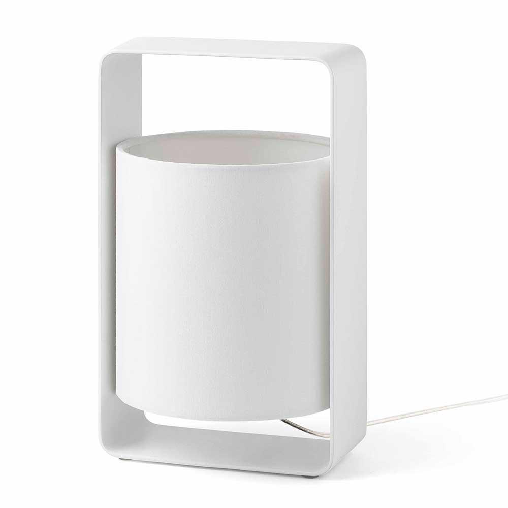 Lampe d co blanche moderne en m tal avec un abat jour for Lampe exterieur moderne