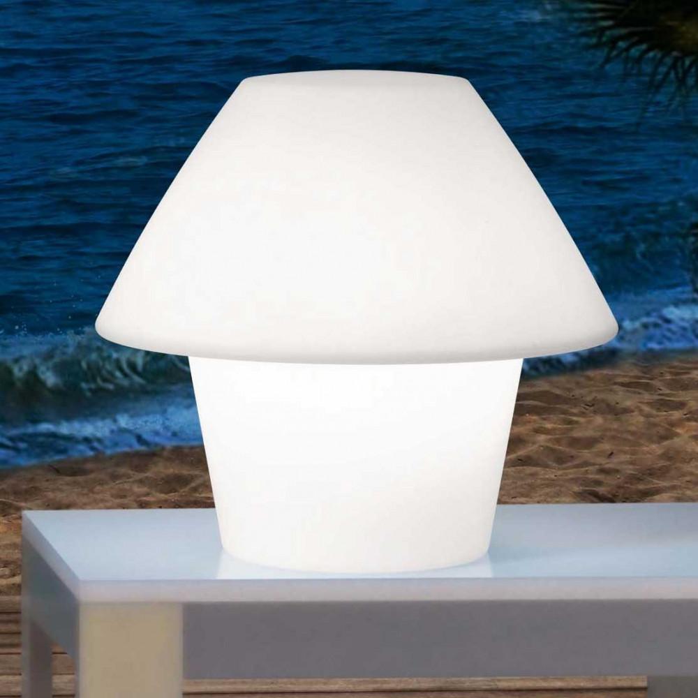 Lampe ext rieur blanche poser sur une table lampe avenue for Lampe exterieur blanche