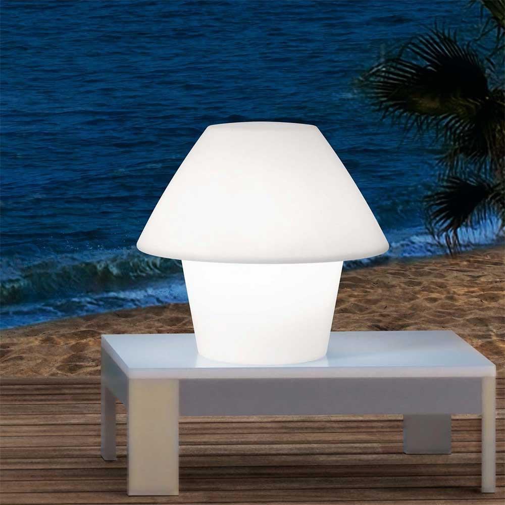 Lampe ext rieur blanche poser sur une table lampe avenue for Lampe exterieur