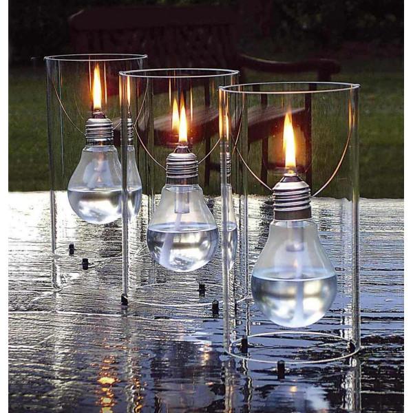Lampe huile d co en verre for Lustre terrasse exterieur