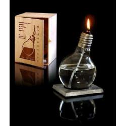 Lampe à huile design sur socle en aluminium