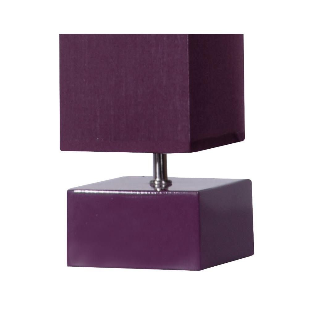 Lampe carr e abat jour violet vertical en vente sur lampe for Lampe de chevet violette