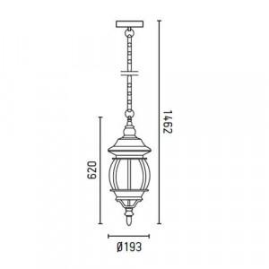Lanterne extérieure classique à suspendre dimensions