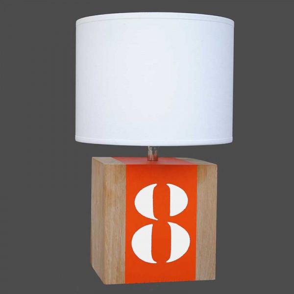 lampe de chevet en bois et bande orange en vente sur. Black Bedroom Furniture Sets. Home Design Ideas