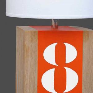 lampe chevet bois et orange
