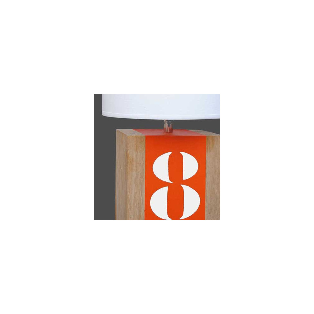 lampe de chevet en bois et bande orange en vente sur lampe avenue. Black Bedroom Furniture Sets. Home Design Ideas