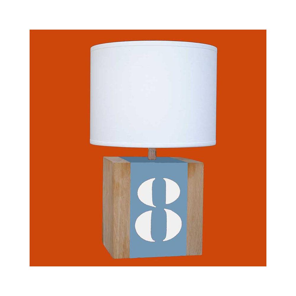 lampe en ch ne bleue avec abat jour achat sur lampe avenue. Black Bedroom Furniture Sets. Home Design Ideas