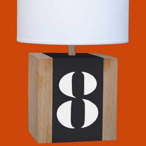 Lampe chevet grise bois