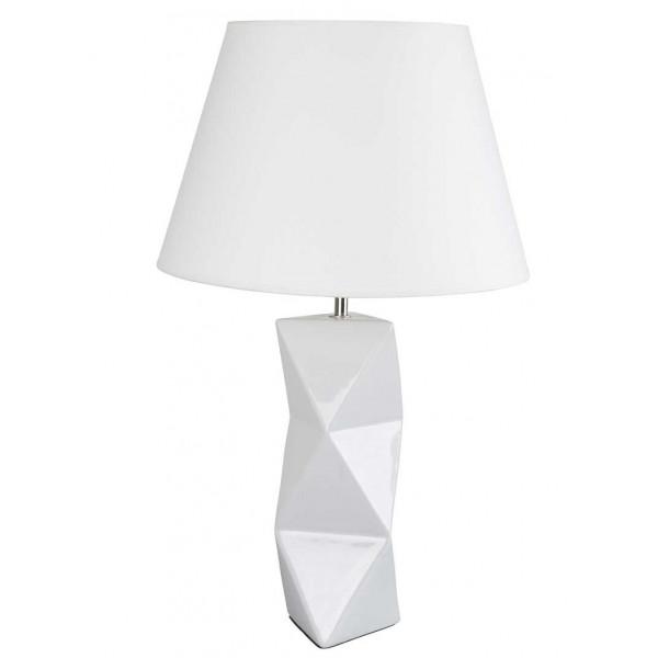 Lampe c ramique blanche forme g om trique achat sur lampe for Lampe de chevet blanche