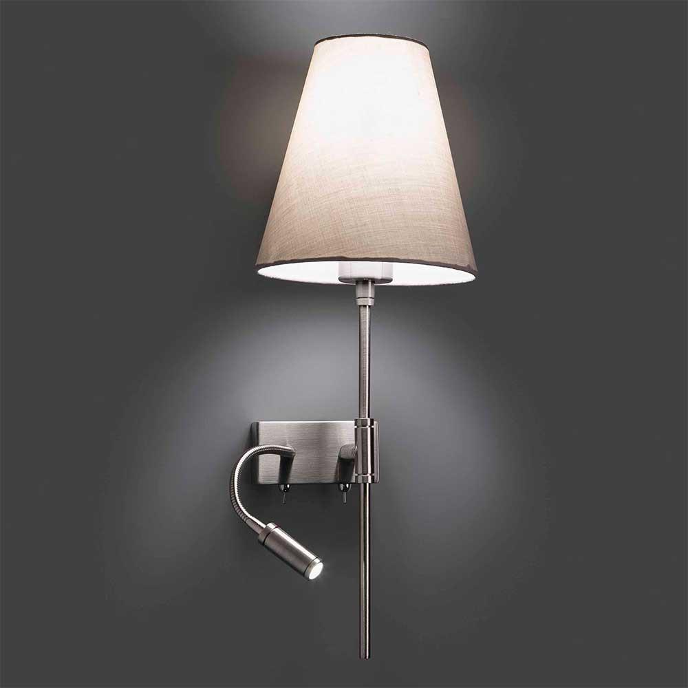 Applique de chevet avec liseuse c t droit du lit abat jour beige - Lampe de chevet applique ...