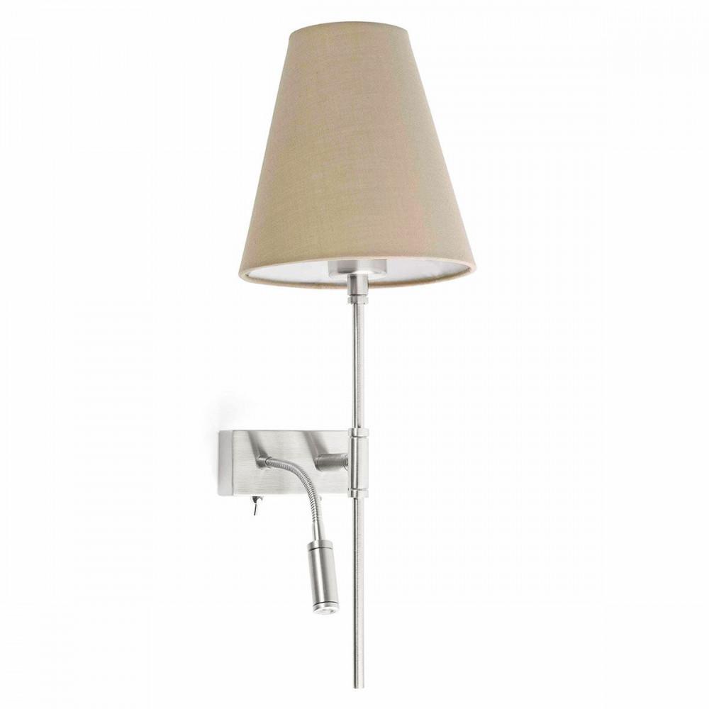 Applique de chevet avec liseuse c t droit du lit abat jour beige for Applique lampe de chevet