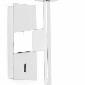 applique m tal chrom avec interrupteur et abat jour blanc lampe avenue. Black Bedroom Furniture Sets. Home Design Ideas