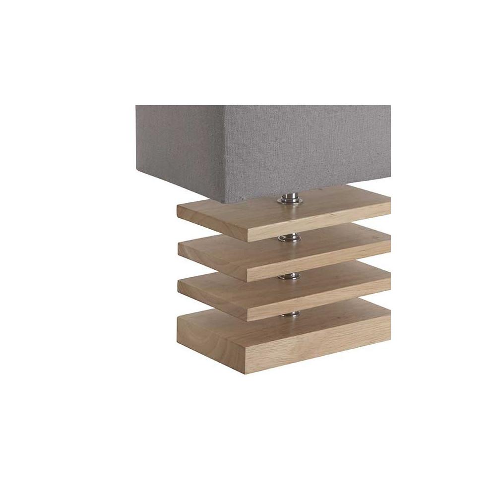 Lampe moderne en bois équipée dun abat jour gris en coton lampe