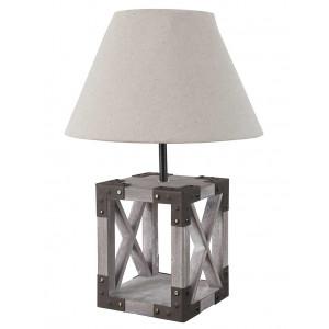 Lampe bois et toile de jute