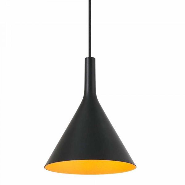 Suspension led design noire et dor e lampe avenue - Suspension noire design ...