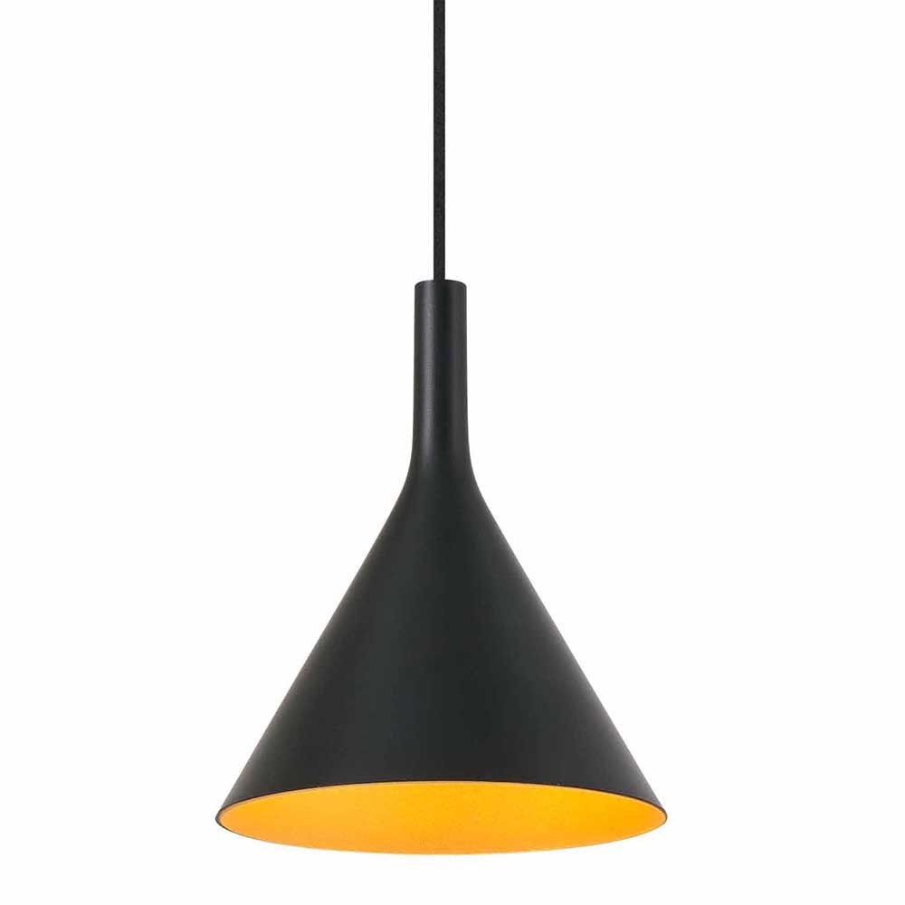 Suspension led design noire et dor e lampe avenue for Lampe suspension design