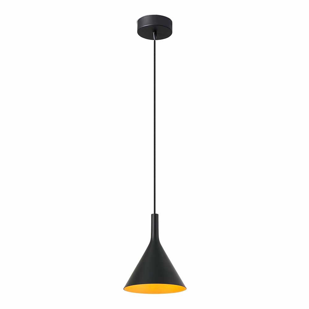 Suspension led design noire et dor e lampe avenue for Suspension led exterieur