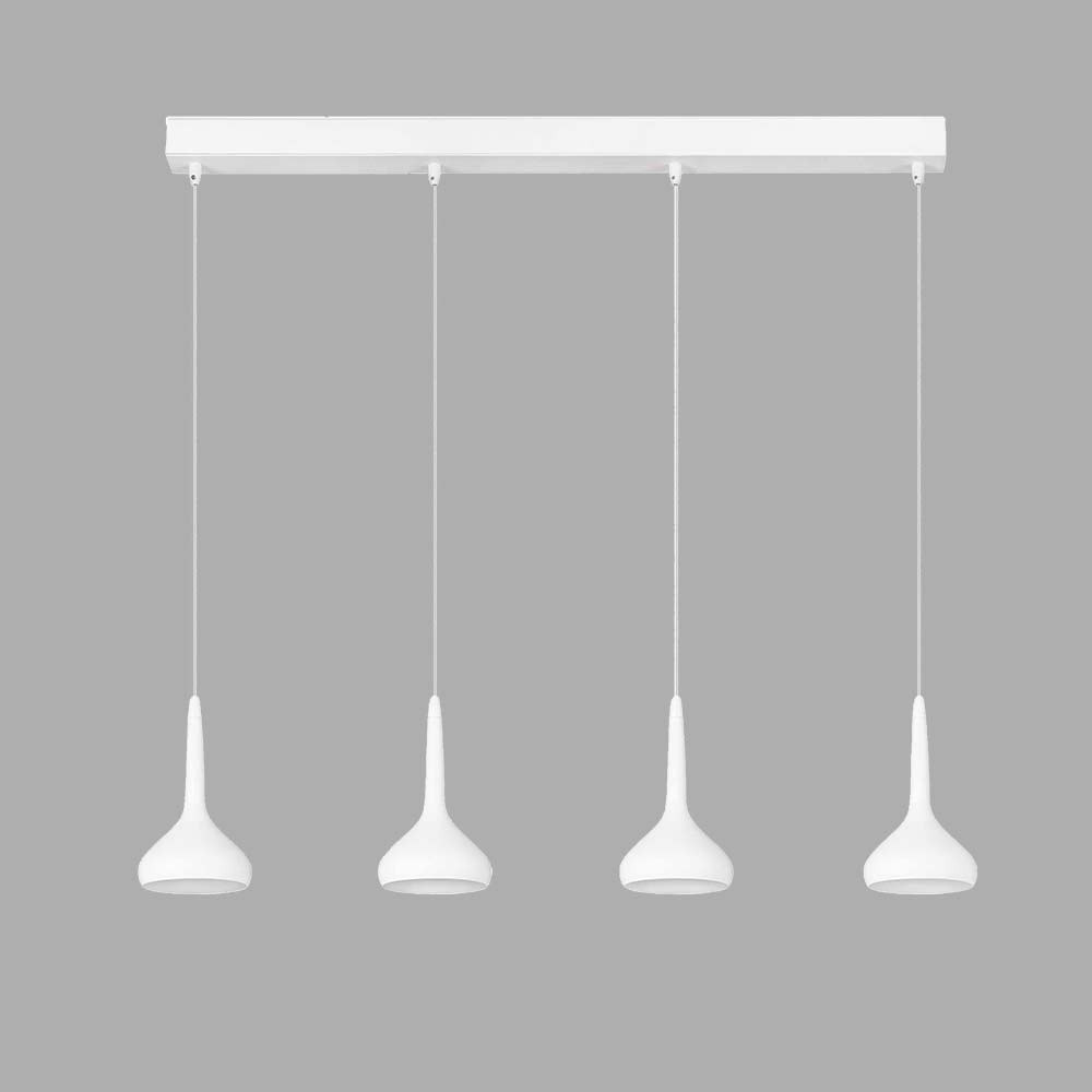 Rampe 4 suspensions blanches led lampe avenue for Suspension exterieur led