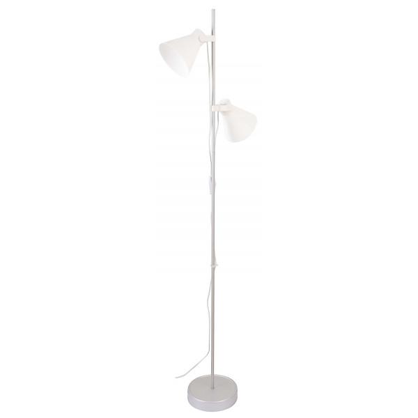 Lampadaire m tal et blanc double abat jour en vente sur for Lampadaire exterieur 2 tetes