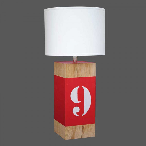lampe en bois peinte d 39 une bande rouge vente sur lampe. Black Bedroom Furniture Sets. Home Design Ideas