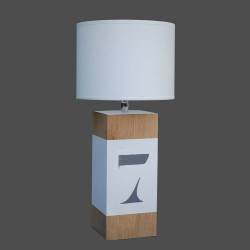 Lampe chevet bois et blanc