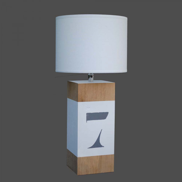 lampe de chevet en bois l34 avec bande blanche en vente sur lampe avenue. Black Bedroom Furniture Sets. Home Design Ideas