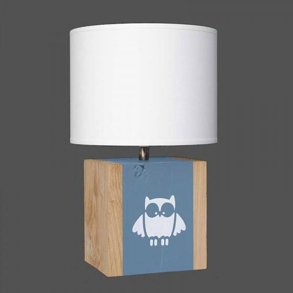 lampe enfant hibou sur fond bleu gris en vente sur lampe. Black Bedroom Furniture Sets. Home Design Ideas