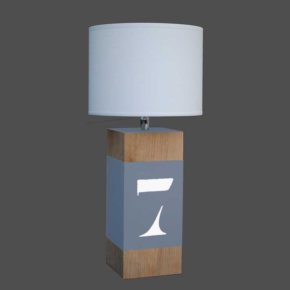 lampe en ch ne peinte d une bande bleue vente sur lampe. Black Bedroom Furniture Sets. Home Design Ideas