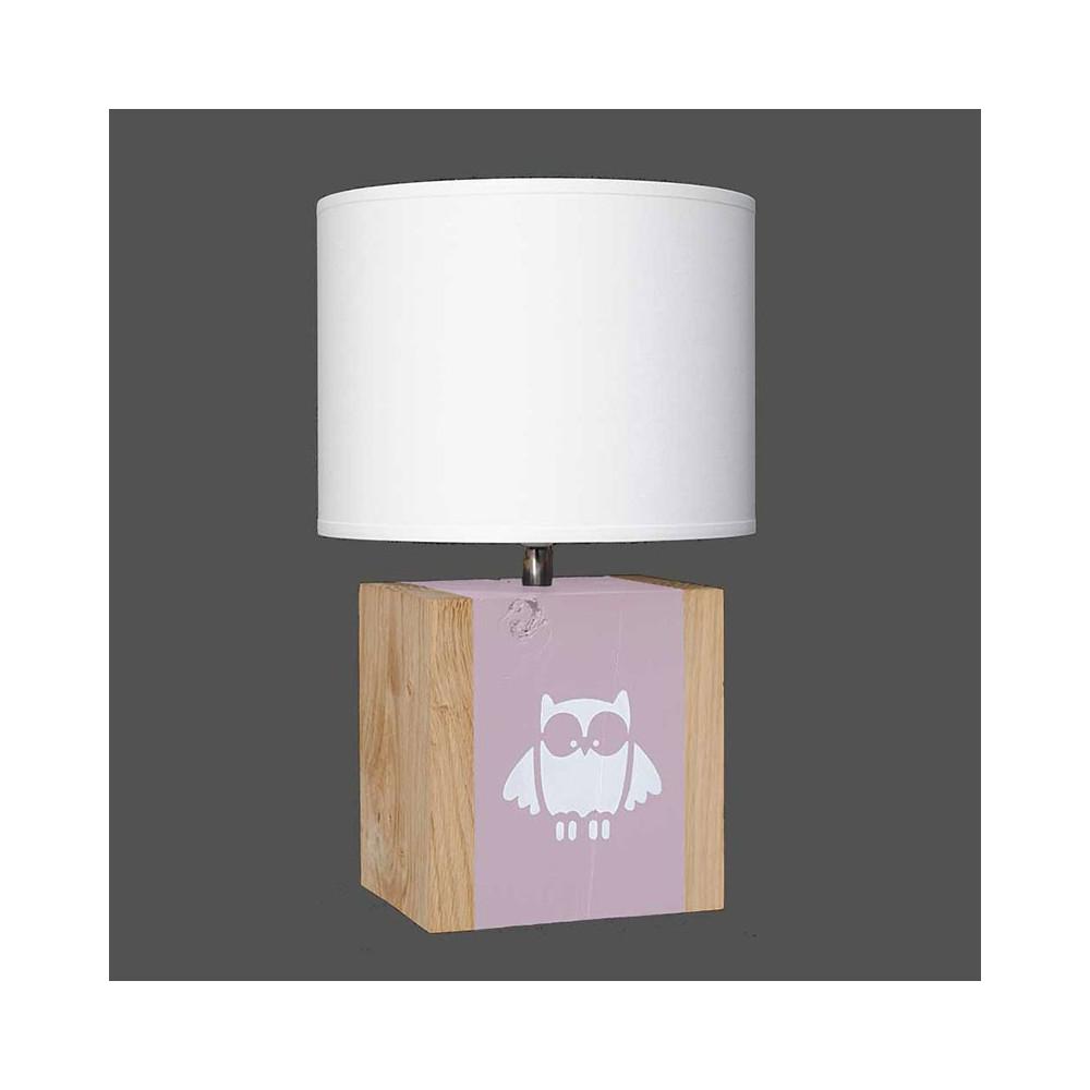 lampe rose pour enfant avec dessin de hibou en vente sur lampe avenue. Black Bedroom Furniture Sets. Home Design Ideas