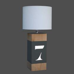 Lampe bois gris ardoise