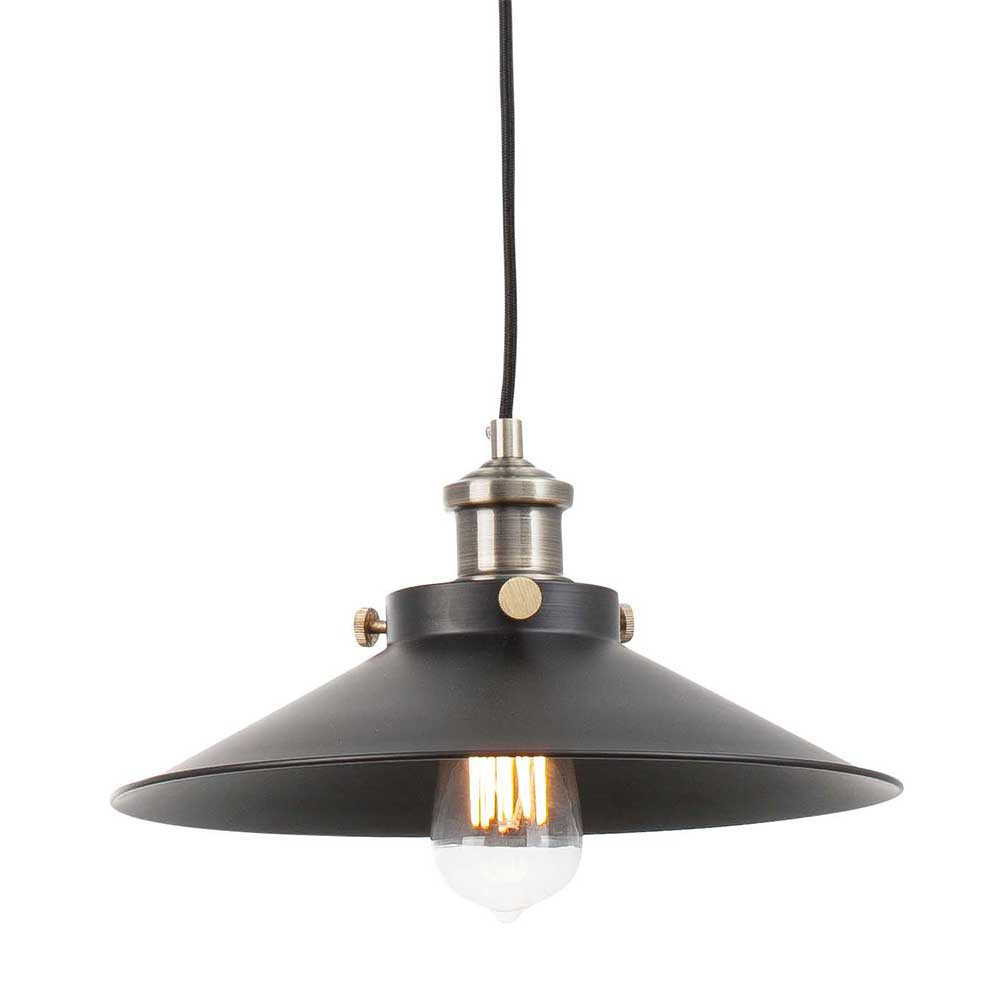 Suspension r tro m tal noir lampe avenue for Suspension led exterieur