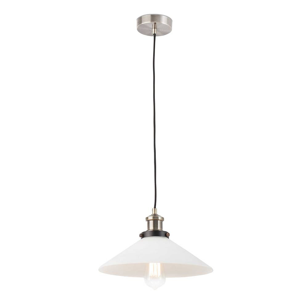 Suspension r tro blanche lampe avenue for Lampe suspension blanche